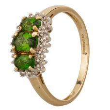 Second Hand 9ct Yellow Gold Green Chrome Diopside and Diamond Trilogy Ring A511621(445)