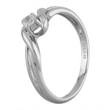 Second Hand 9ct White Gold 0.10ct Diamond Solitaire Twist Ring J511153(447)