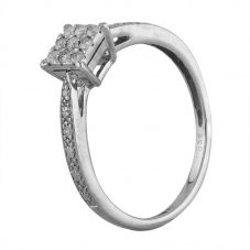 Second Hand 9ct White Gold 0.15ct Diamond Square Cluster Ring T605503(447)