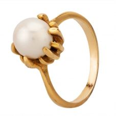 Second Hand Yellow Gold Pearl Solitaire Ring LOT264(6/15)