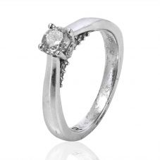 Second Hand 18ct White Gold Diamond Solitaire Ring 4148507