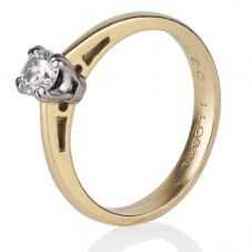 Second Hand 18ct Yellow Gold Certified Leo Diamond Solitaire Ring 4148856