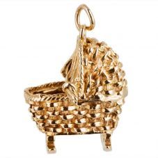 Second Hand 9ct Yellow Gold Baby in Moses Basket Charm Pendant 4152155