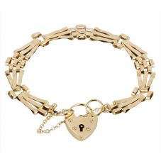 Second Hand 9ct Yellow Gold Three Bar Gate Bracelet 4153160