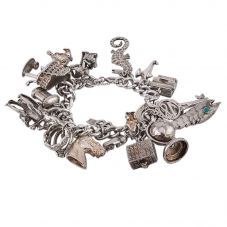Second Hand Sterling Silver Curb Chain Charm Bracelet N.458256(401)