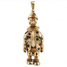 Second Hand 9ct Yellow Gold Stone Set Clown Pendant 4156468