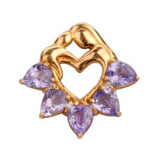 Second Hand 18ct Yellow Gold Tanzanite and Diamond Heart Pendant 4156588