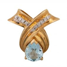 Second Hand 9ct Yellow Gold Blue Topaz and Diamond Teardrop Pendant LOT215(09/17)