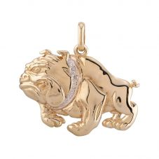 Second Hand 9ct Yellow Gold Diamond Bulldog Loose Pendant D604077(442)