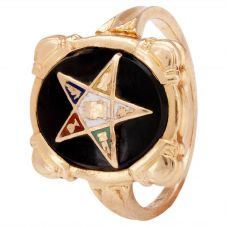 Second Hand Onyx and Enamel Star Signet Ring 4157466