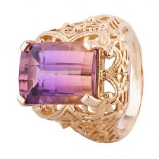 Second Hand 9ct Yellow Gold Ametrine Oblong Dress Ring 4157862