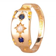Second Hand 14ct Yellow Gold Pearl and Sapphire Ring 4157884