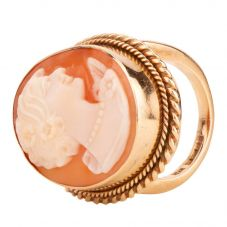 Second Hand 9ct Yellow Gold Large Oval Cameo Ring 4157944
