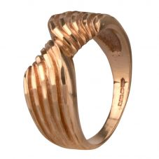 Second Hand 9ct Yellow Gold Five Row Ridged Bow Ring 4157963