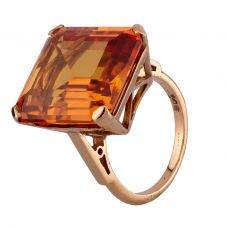 Second Hand Yellow Gold Large Synthetic Yellow Sapphire Solitaire Ring C605005(442)
