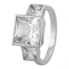 Second Hand 18ct White Gold Synthetic Sapphire Three Stone Ring J511122(443)