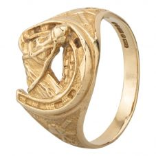 Second Hand 9ct Yellow Gold Horse and Horseshoe Ring HGM14/02/21(10/18)