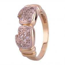 Second Hand 9ct Yellow Gold Cubic Zirconia Boxing Gloves Ring HGM15/03/28