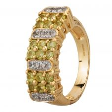 Second Hand 9ct Yellow Gold Peridot and White Topaz Cluster Ring A511621(445)