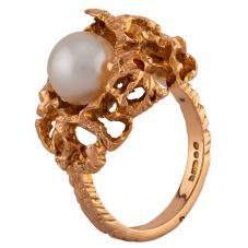 Second Hand 9ct Yellow Gold Pearl Dress Ring G607010(447)