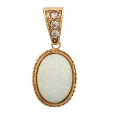 Second Hand 9ct Yellow Gold Synthetic Opal and Cubic Zirconia Loose Pendant Q600518(446)