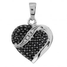 Second Hand 9ct White Gold Black and White Diamond Heart Loose Pendant D516492(450)