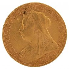 Second Hand 22ct Yellow Gold 1900 Queen Victoria Full Sovereign Coin ELM(106706)18/4/19