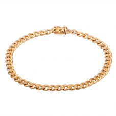 """Second Hand 9ct Yellow Gold 8.5"""" Hollow Curb Chain Bracelet C605002(441)"""