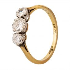 Second Hand Yellow Gold Diamond Three Stone Ring 256-10