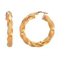 Second Hand 9ct Yellow Gold 3.5cm Twisted Hoop Earrings 4183005