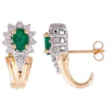 Second Hand Emerald and Diamond Cluster Stud Earrings 4183007