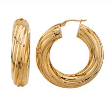 Second Hand 9ct Yellow Gold Thick Twist Hoop Earrings LOT117(12/18)