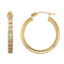 Second Hand 9ct Yellow Gold Cubic Zirconia Hoop Earrings HGM19/03/08(12/18)