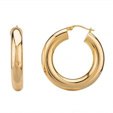 Second Hand 9ct Yellow Gold Plain Round Tube Hoop Earrings F606038(446)