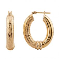 Second Hand 9ct Yellow Gold Fancy Oval Hoop Earrings HGM 23/03/22(02/19)