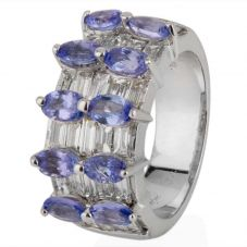 Second Hand 18ct White Gold Tanzanite and Diamond Multi Row Ring 4212889