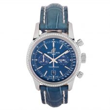 Second Hand Breitling Transocean 38 Blue Leather Strap Watch A4131053-C862 718P