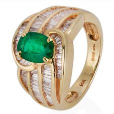 Second Hand 14ct Yellow Gold Emerald and Diamond Ring 4229150