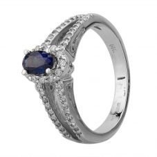 Second Hand 14ct White Gold 0.55ct Sapphire and 0.30ct Diamond Cluster Ring GMC(42/3/21)