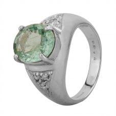 Second Hand 18ct White Gold Paraiba Tourmaline and Diamond Ring B420203(340)