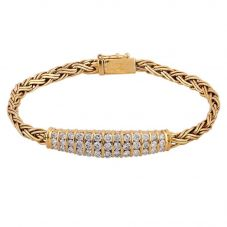 Second Hand 18ct Yellow Gold Diamond Cluster Rope Bracelet 4304050