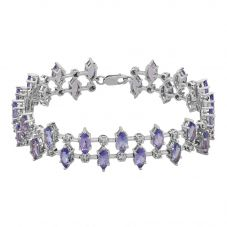Second Hand 14ct White Gold Tanzanite and Diamond Bracelet 4307001