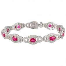 Second Hand 9ct White Gold Ruby and Diamond Bracelet 4307032