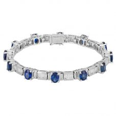 Second Hand 18ct White Gold Sapphire and Diamond Bracelet 4307034
