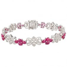 Second Hand 14ct White Gold Ruby and Diamond Bracelet 4307035