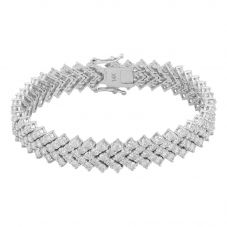 Second Hand 14ct White Gold 15.00ct Diamond Chevron Bracelet 4307042
