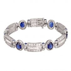 Second Hand 14ct White Gold Sapphire and Diamond Bracelet 4307043