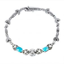 Second Hand 18ct White Gold Turquoise and Diamond Fancy Bracelet 4307652