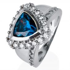 Second Hand 14ct White Gold Blue and White Cubic Zirconia Ring 4309009