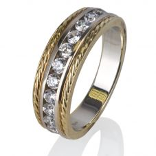 Second Hand 14ct Yellow Gold Mens Cubic Zirconia Ring 4309016